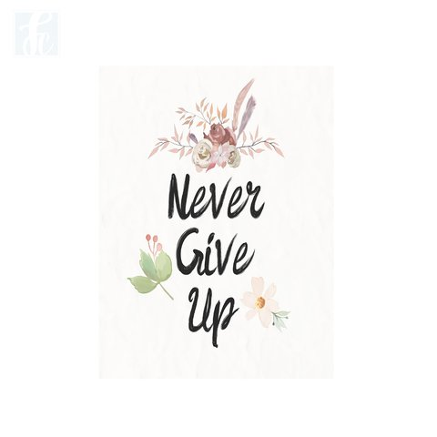 Placa Decor Frases - Never Give Up - comprar online