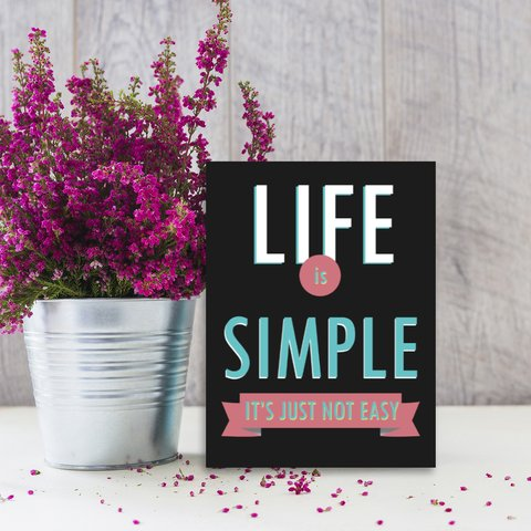Placa Decor Frases - Life Is Simple