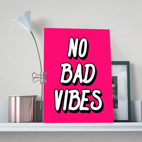 Placa Decor Frases - No Bad Vibes Pink