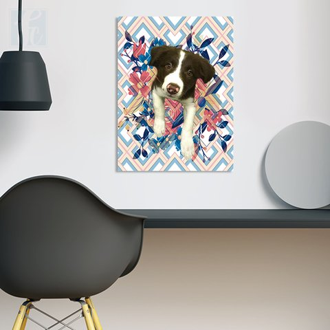 Placa Decor Pet Personalizada - Floral e Chevron - comprar online