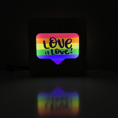 Luminária Ledito Wood - Love is Love 2 - comprar online