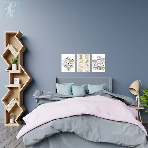 Placa Decor Kit Trio - Geomêtricos