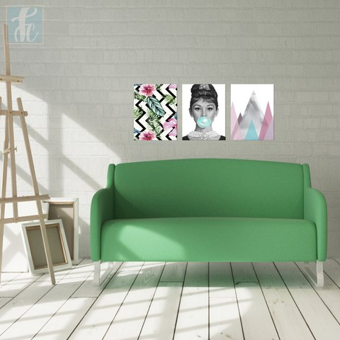 Placa Decor Kit Trio - Audrey Hepburn - Bonequinha de Luxo