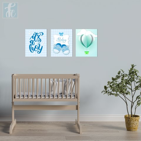 Placa Decor Kit Trio - Baby Boy