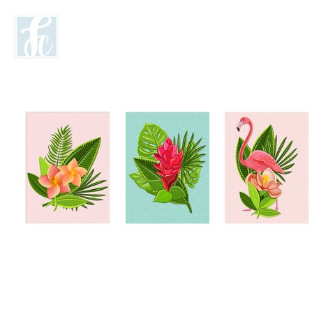 Placa Decor Kit Trio - Flamingo - comprar online
