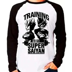 Camiseta Dragon Ball Z Training To Go Super Saiyan Raglan