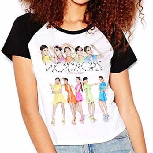 Camiseta Wonder Girls Kpop Integrantes Raglan Babylook