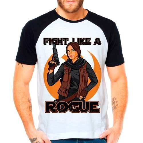 Camiseta Star Wars Rogue One Fight Like A Rogue Raglan Curta