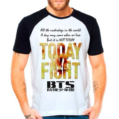 Camiseta Bts Bangtan Boys Not Today Kpop Raglan Manga Curta