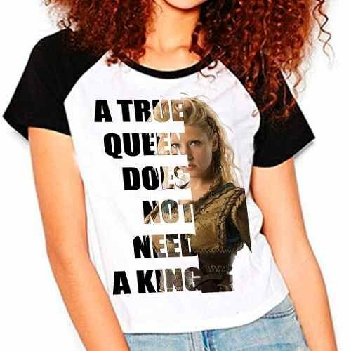 Camiseta Vikings Lagertha A True Queen Mod02 Raglan Babylook