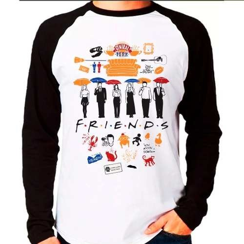 Camiseta Blusa Raglan Longa Série Friends Central Perk