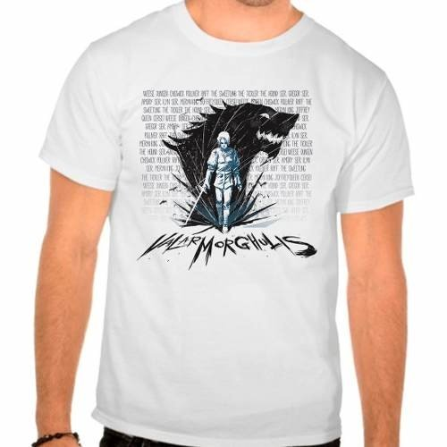 Camiseta Branca Arya Stark Valar Morghulis Game Of Thrones