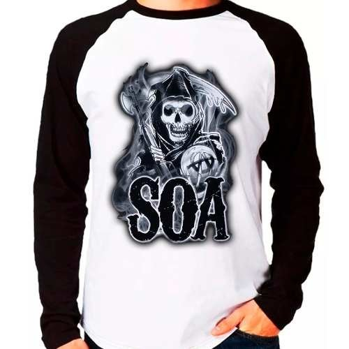 Camiseta Sons Of Anarchy Soa Série Raglan Manga Longa