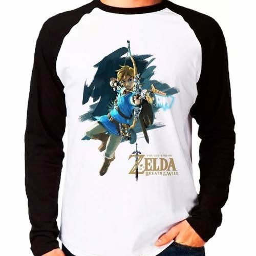Camiseta Zelda Breath Of The Wild Raglan Manga Longa