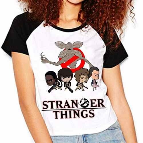 Camiseta Stranger Things Ghostbusters Demogorgon Raglan Baby