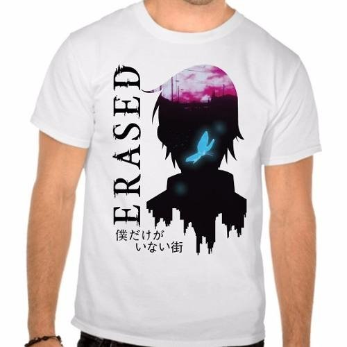 Camiseta Branca Erased The Town Anime Boku Dake