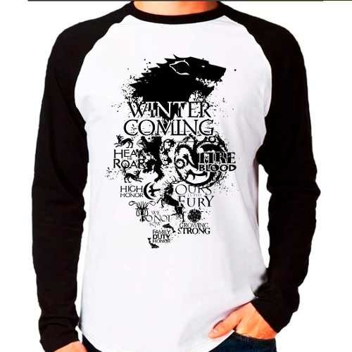 Camiseta Raglan Game Of Thrones Stark Targaryen Lannister