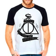 Camiseta Raglan Harry Potter Hp Reliquias Da Morte Together