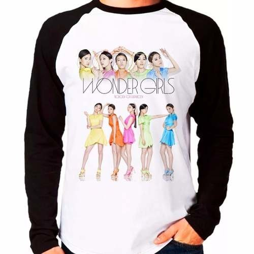 Camiseta Wonder Girls Kpop Integrantes Raglan Manga Longa