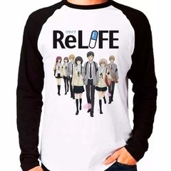 Camiseta Relife Personagens Anime Raglan Manga Longa