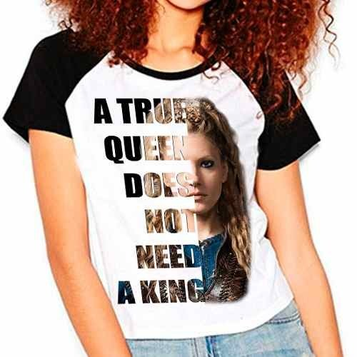 Camiseta Vikings Lagertha A True Queen Mod01 Raglan Babylook