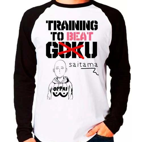 Camiseta One Punch Man Training To Beat Saitama Não Goku