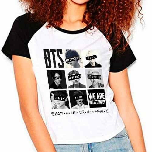 Camiseta Bangtan Boys Bts We Are Bulletproof Babylook Raglan