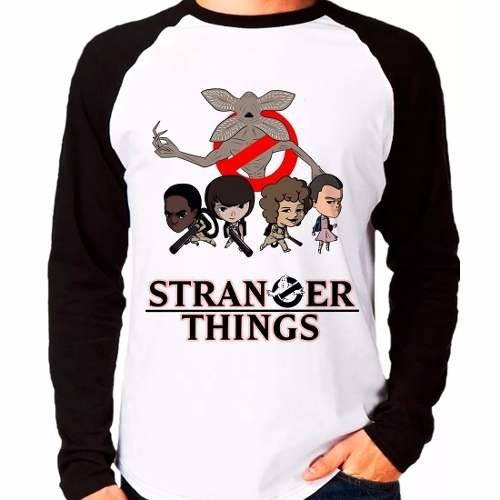 Camiseta Stranger Things Ghostbusters Demogorgon Manga Longa