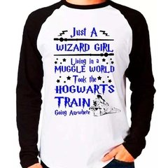 Camiseta Blusa Raglan Longa Harry Potter Just A Wizard Girl