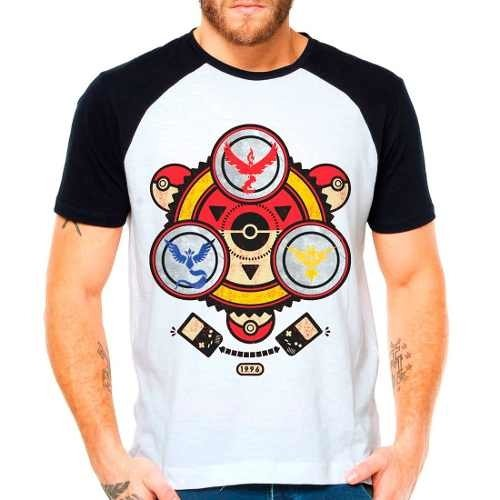 Camiseta Raglan Pokemon Go Mystic Valor Instinct Pokebola