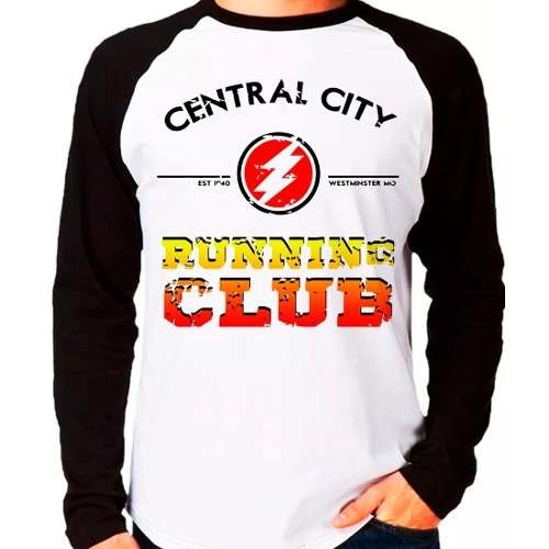 Camiseta The Flash Central City Running Club Raglan Longa