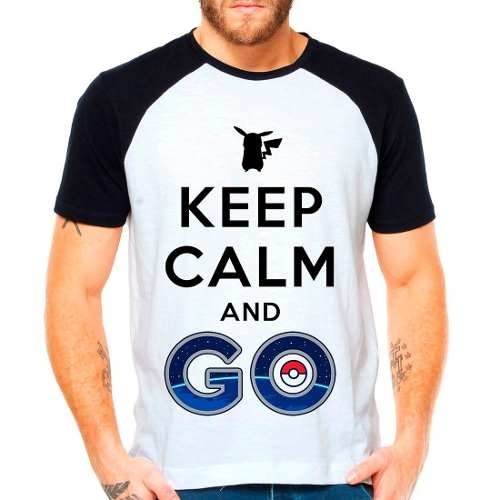 Camiseta Raglan Pokemon Go Pikachu Keep Calm And Go