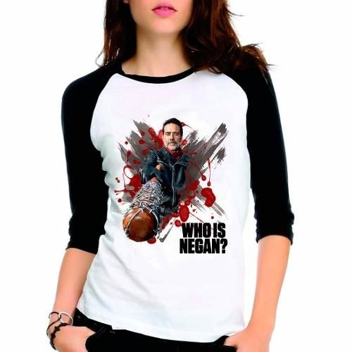 Camiseta Walking Dead Twd Who Is Negan Raglan Babylook 3/4
