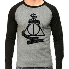 Camiseta Harry Potter Master Of Death Raglan Mescla