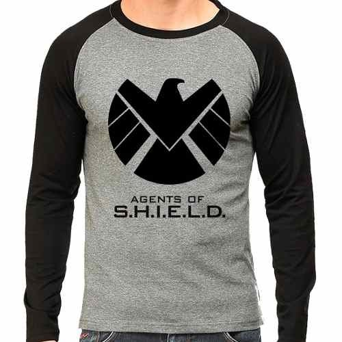 Camiseta Marvel Agents Of Shield Raglan Mescla