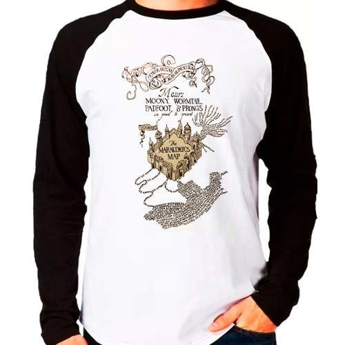 Camiseta Harry Potter Marauders Map Raglan Manga Longa
