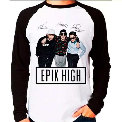 Camiseta Raglan Longa Kpop K-pop Epik High Team Autógrafos