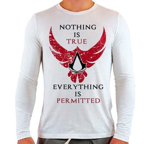 Camiseta Branca Longa Assassins Creed Game Nothing Is True