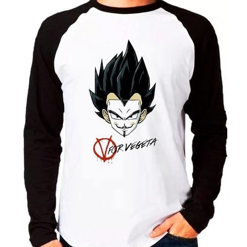 Camiseta Dragon Ball Z V For Vegeta Raglan Manga Longa