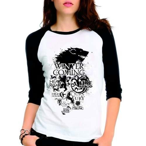 Camiseta Game Of Thrones Got Casas Raglan Babylook 3/4