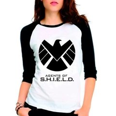 Camiseta Agents Of Shield Marvel Raglan Babylook 3/4