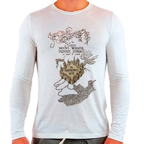 Camiseta Branca Longa Harry Potter Marauders Map