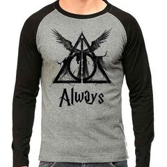Camiseta Harry Potter Reliquias Da Morte Raglan Mescla