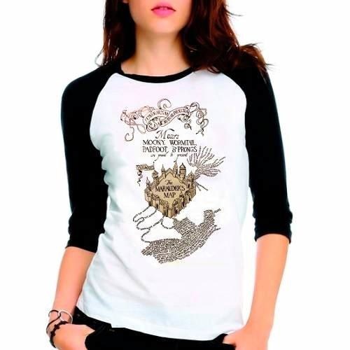 Camiseta Harry Potter Marauders Map Raglan Babylook 3/4