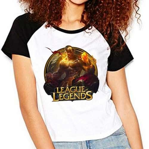 Camiseta Lol League Legends Lee Sin Punhos Raglan Babylook