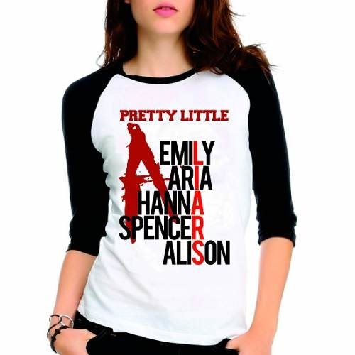 Camiseta Pretty Little Liars Pll Nomes Raglan Babylook 3/4