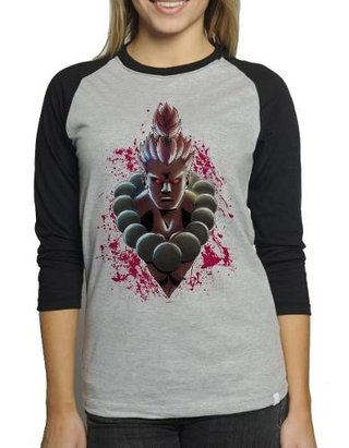 Camiseta Akuma Street Fighter Raglan Mes...