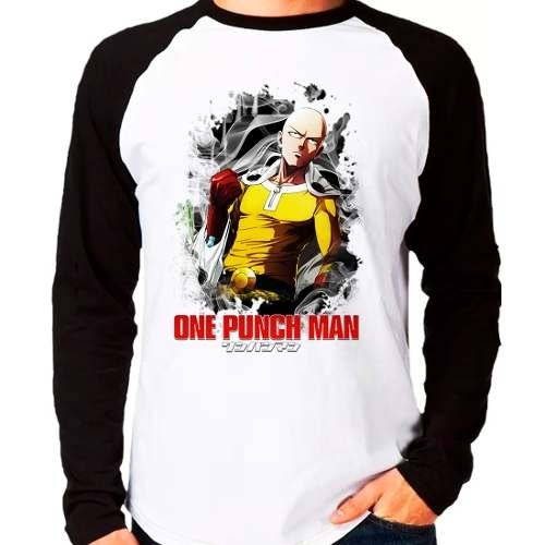 Camiseta Anime One Punch Man Saitama Raglan Manga Longa