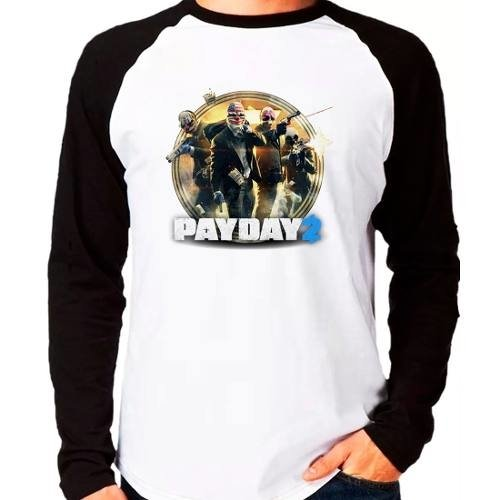 Camiseta Pay Day 2 Payday2 Raglan Manga Longa