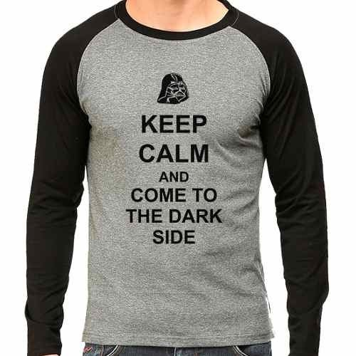 Camiseta Keep Calm Dark Side Star Wars Raglan Mescla